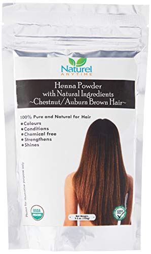 Organic (USDA, GMP) Henna for Chestnut/AUBURN/Reddish Brown Colour Hair, healthier, softer hair (Recipe provided) for temp tattoos and eyebrows, CPSReports certified in UK/EU