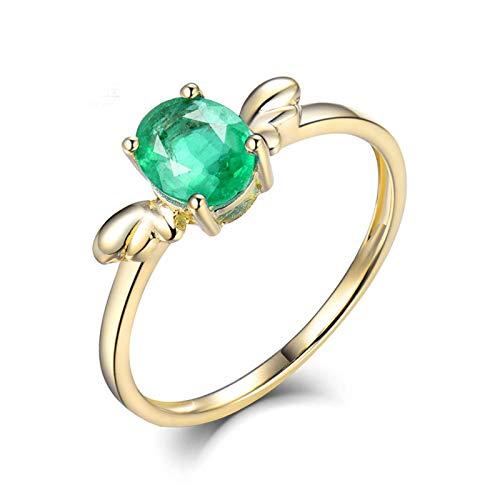 ButiRest Mujer Kein-Metall-Stempel (Mode nur) oro amarillo 14 quilates (585) talla ovalada verde Emerald