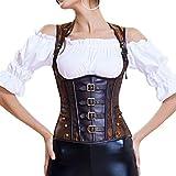 DISSA W1727 - Vestido de corsé sexy para mujer, con hombros ajustables marrón 42