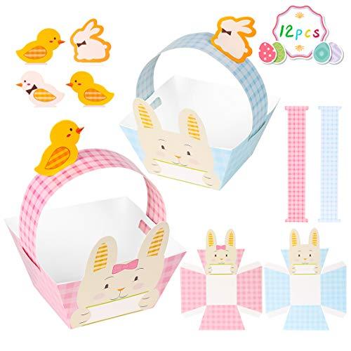 Canastas de Pascua artesanales, Canasta de Pascua de Papel, Exquisita Herramienta de búsqueda de Huevos de Pascua, Regalos de Pascua para niños (12 Piezas)