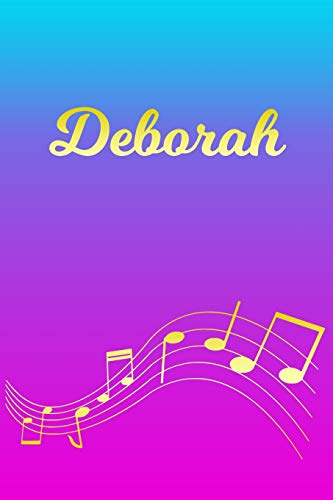 Deborah: Sheet Music Note Manuscript Notebook Paper – Pink Blue Gold Personalized Letter D Initial Custom First Name Cover – Musician Composer … Notepad Notation Guide – Compose Write Songs