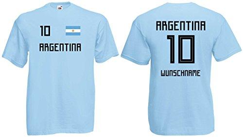 Argentinien Herren T-Shirt Trikot mit Wunschnamen & Nummer WM 2018blau-L