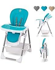 Lionelo Linn Plus barnstol baby barn barnstol från 6 månader barnstol kan belastas med 15 kg barnstol baby med liggfunktion många tillbehör (turkos)