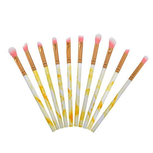 10pcs pinceaux de maquillage des yeux kit de brosse de maquillage cosmétique portable en marbre pour l'ombrage ou le mélange de fards à paupières doux poils synthétiques(Jaune)