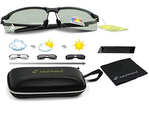 Saulmann® Smart Photochromatische & Polarisierte selbsttönende Sonnenbrille, UV-Schutz, für Fahren, Sport und andere Outdoor Aktivitäten, Ultraleichtes Metal-Gestell – SM7875