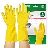 Reusable Dishwashing Gloves 3 Pairs, squish Rubber Dishwashing Gloves, Cleaning Gloves with Long Sleeves, Kitchen Cleaning, Working, Painting, Gardening, Pet Care, Medium (Yellow Medium 3PACK)