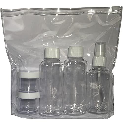 Neceser Transparente Viaje Avion + 2 Botes para Gel y Champu + Perfumador + 2 Envases para Crema / Bolsa liquidos Avion 20x20 Aeropuerto / Kit Neceser Viajes liquidos /Transporte Viaje
