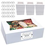 Cookie Boxes with Window 8' x 5.75' x 2.5' Cake Pastry Bakery Box 20 pk Baked with Love Sticker...