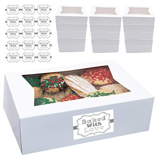 Cookie Boxes with Window 8' x 5.75' x 2.5' Cake Pastry Bakery Box 20 pk Baked with Love Sticker Labels