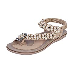 Brown Thong Flat Sandals Comfortable Sling Back Slip on