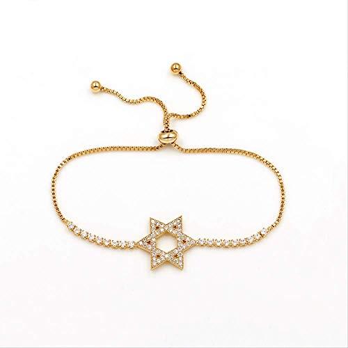 HMANE Pulsera y Brazalete Ajustable de circonita cúbica de Estrella de David para Mujeres, niñas, niños, joyería, Regalos
