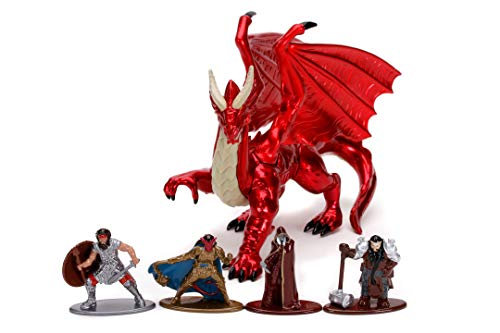 Jada Toys 253254000 Dungeons & Dragons Deluxe - Figuras nanólicas de Die-Cast, Human Fighter, Tiefling Paladin, Drow Elf Rogue, Dwarf Cleric, Young Red Dragon, figuras de juguete, 5 unidades/Set, 4 cm