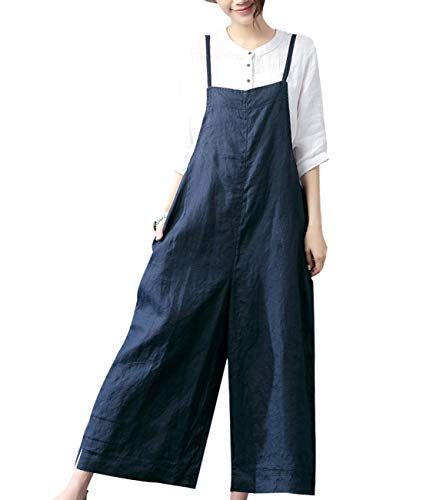 YESNO Women Casual Loose Boyfriend Cropped Bib Pants Summer Wide Leg Cotton Jumpsuits Rompers/w Pockets S-5X PZZ