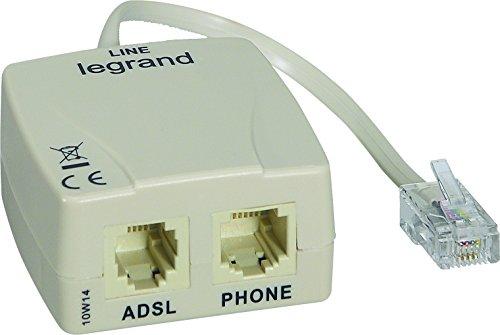 Legrand 091065 Filtre ADSL pour Prise pour Accès Telephone et Internet sur une Seule Prise, RJ45, Blanc
