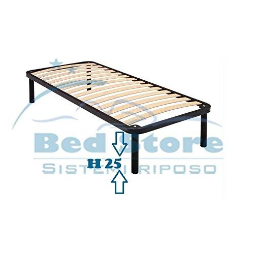 Bed Store Rete A DOGHE Strette Singola per Letto Singolo 80X180 con Piedi H25 Ortopedica Resistente