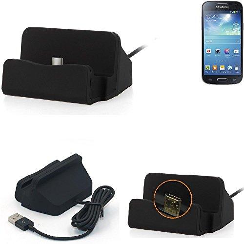 K-S-Trade Dockingstation Kompatibel Mit Samsung Galaxy S4 Mini Docking Station Micro USB Tisch Lade Dock Ladegerät Charger Inkl. Kabel Zum Laden Und Synchronisieren, Schwarz