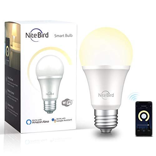 Smart Light Bulb Compatible with Alexa Google Home, NiteBird A19 E26 Wifi Dimmable Warm White 2700K LED Bulbs, 75W Equivalent, No Hub Required, 1 Pack