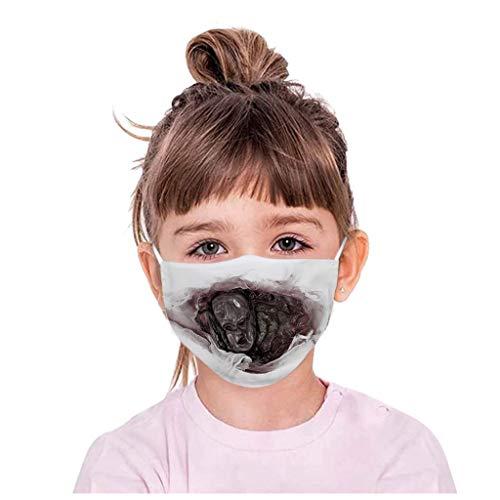 eiuEQIU 3D Kinder Mund Shield, Mund und Nasenschutz aus Baumwolle, Winddicht Atmungsaktiv Bandans Halstuch Sommerschal für Halloween Party