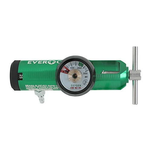 EverOne Mini Oxygen Regulator with Key, 0-25 Litersper min, Brass Sleeve, 870 CGA Connection, Brass Sleeve