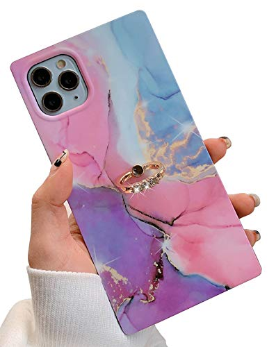 KERZZIL Metal Kickstand iPhone 11 Pro Max Marble Case Design with Ring Holder, Square Matte Soft TPU Silicone Gel Shockproof Protective Cases Cover for Apple iPhone 11 Promax 6.5-inch(Pink & Purple)