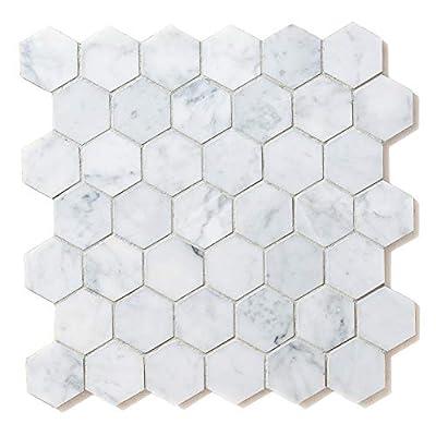 Carrara White Marble Hexagon 2in Mosaic Tile Honed-4Pack