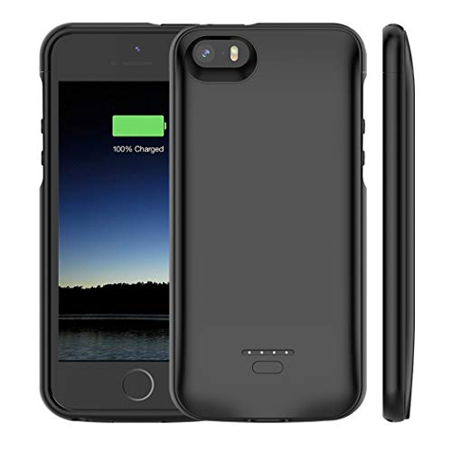 Battery Case for iPhone 5 /5S /SE , 4000mAh Rechargeable Portable Power Charging Case iPhone 5 5S SE Ultra Thin Extended Battery Pack Charger Case -Black [ Not Compatible iPhone 5C ]