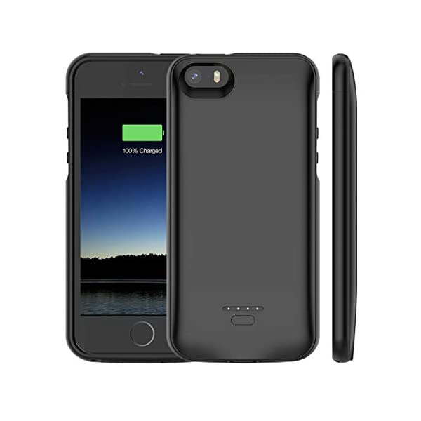 Euhan Iphone 5 5s Se Battery Case 4000mah Rechargeable Portable Power Charging Case Iphone 5 5s Se Extended Battery Pack Charger Case Ultra Thin Black Not Compatible Iphone 5c