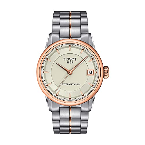 Tissot Women's Luxury 316L Stainless Steel case with Rose Gold PVD Coating Swiss Automatic Watch Strap, Grey, 18 (Model: T0862072226101)