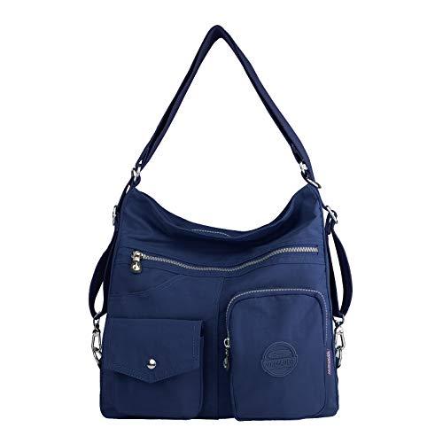 NOTAG Bolsos de Mujer, Impermeable Nylon Bolso Bandolera Multifuncional Mochilas Bolso Hombro Shopper (Azul oscuro)