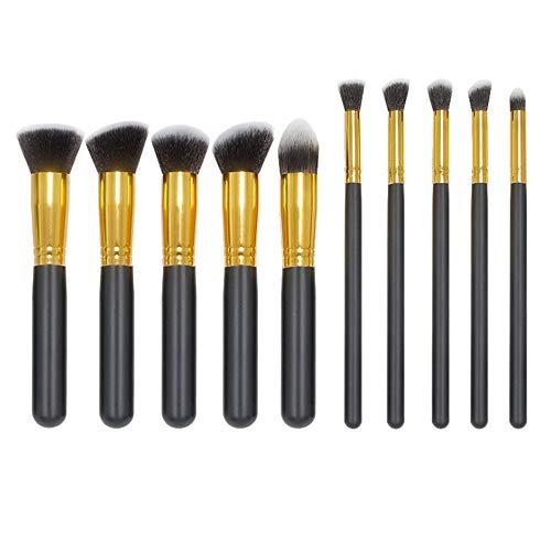 10 Brosse De Maquillage De Poignée En Bois Ensembles Outil De Maquillage De Brosse De Fond D'Oeil De Brosse 18Cm Tube Noir Poignée-Or