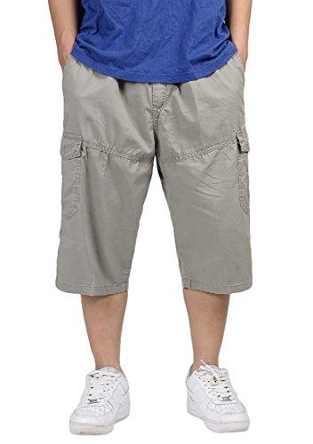 Panegy Mens CottonWalking Outdoor Indoor Sport Cargo Shorts Pants Overalls XXXL - Khaki