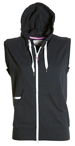 PAYPER Damen Sweatweste mit Reißverschluss und Kapuze, Farbe:Black;Größe:L