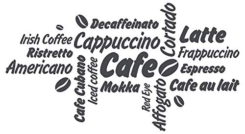 dekodino® Wandtattoo Spruch Küche Kaffee Kaffeesorten mit Kaffeebohnen Deko