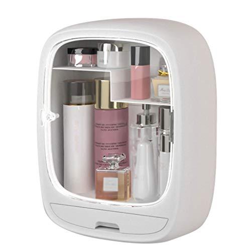 QIN Caja Organizador de almacenamiento de maquillaje, estante de visualización de almacenamiento de cosméticos con cajón y ventana transparente, caja de almacenamiento de cosmética a prueba de polvo e