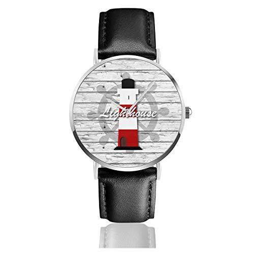 Nautische Leuchtturm-Uhr auf grauem rustikalem Holz-Leder-Armband Casual Klassische Edelstahl-Quarzuhr Business Uhr