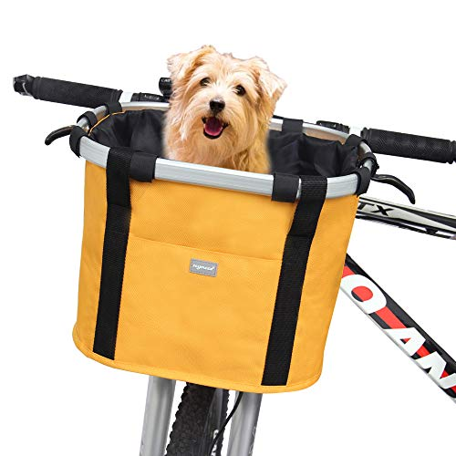RAYMACE Bicycle Basket Dog Bike Handlebar Basket Front,Folding Detachable Quick Release Easy Install,Cycling Picnic Bag