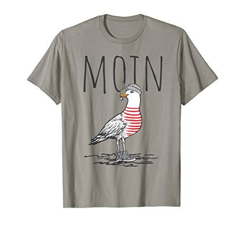 Moin Digga Spruch T-Shirt I Möwe Vogel See Meer Segeln