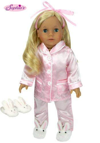 Doll Clothing for 18 Inch Dolls, 3 Pc. PJ's Set Fits American Girl Dolls, 2 Pc. Pink Satin Doll Pajamas & Doll Slippers | Doll Sold Separately