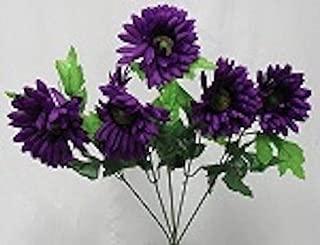 5 Purple Gerbera Daisy Wedding Bridal Bouquet Silk Flowers Centerpiece