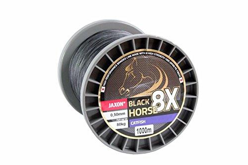 Geflochtene Schnur JAXON BLACK HORSE CATFISH Wels Wallerschnur 1000m Spule ( 0,07€/m) (0,50mm / Tragkraft 80kg)