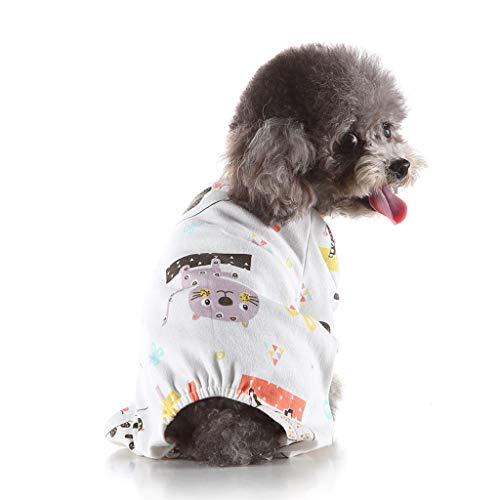 YueLove Hund Kleidung Hunde Katzen Einteiler Schlafanzug Baumwolle Pyjamas Puppy Strampelanzug Overall Pet Jumpsuits Cozy Bodys für kleine Hunde und Katzen