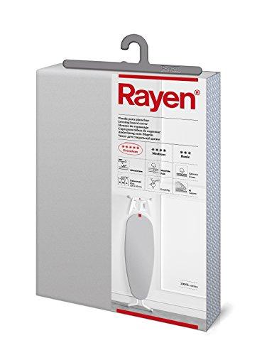 Rayen 6143.01 Funda para Tabla de Planchar, Tejido de algodón Metalizado, Espuma, muletón, Gris Claro, 130 x 47 cm