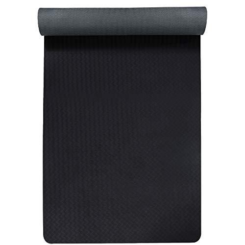 FREEDM Yogamatte, TPE Umweltfreundliche Fitness-Yogamatte rutschfeste Trainingsmatte mit Tragegurt, Trainingsmatte für Yoga, Pilates und Gymnastik 183 x 61 x 0,6 cm (Grau-Schwarz)