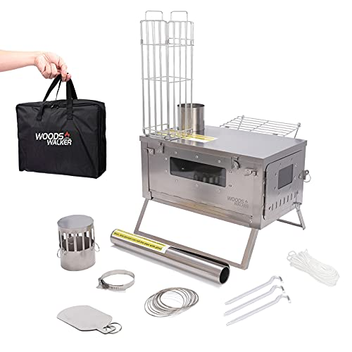 Tent Stove Camping Wood Burning Stove with Chimney Damper