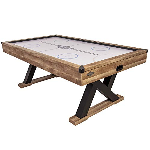 "American Legend Kirkwood 84"" Air Powered Hockey Table with Rustic Wood Finish, K-Shaped Legs and Modern Design"