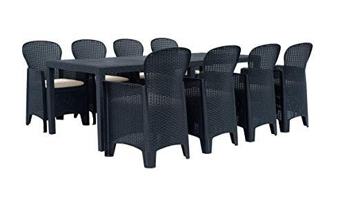 Tomaino 1 Tavolo allungabile + 8 sedie in plastica Simil Rattan (Antracite)