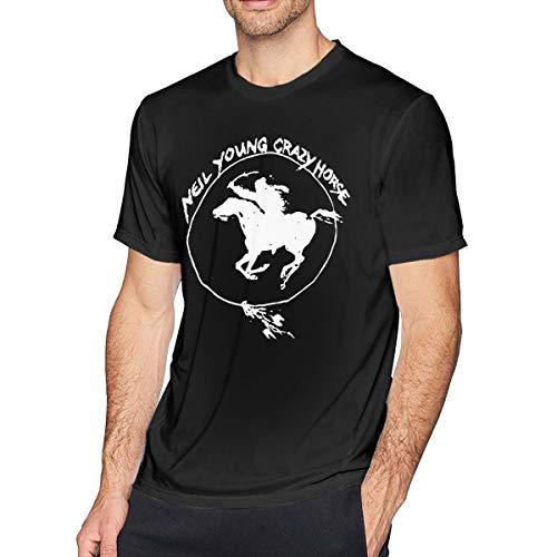 Patrick R Garrett Herren Kurzarm T-Shirt Neil Young Crazy Horse Bedruckt sportlich lässig T-Shirts für Männer bequemes Oberteil