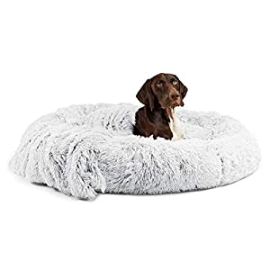 Best Friends by Sheri Bundle Savings – The Original Calming Shag Donut Cuddler Dog Bed in Extra Large 45″ x 45″ and Pet Throw Blanket in 40″ x 50″, Frost.