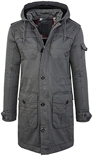 Rock Creek Herren Fieldjacket Winter Jacke Parka Mantel Herrenjacke Herrenmantel Outdoorjacke Männer Jacken Gefüttert Kapuze Warm H-098 Grau M