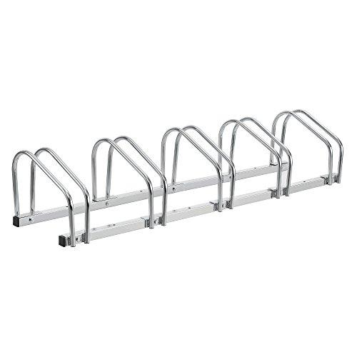 [neu.haus] Fahrradständer für 5 Fahrräder - freistehend - Bodenparker Silber